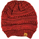 Wrapables Two Tone Knit Beanie Cap Hat, Wine Red