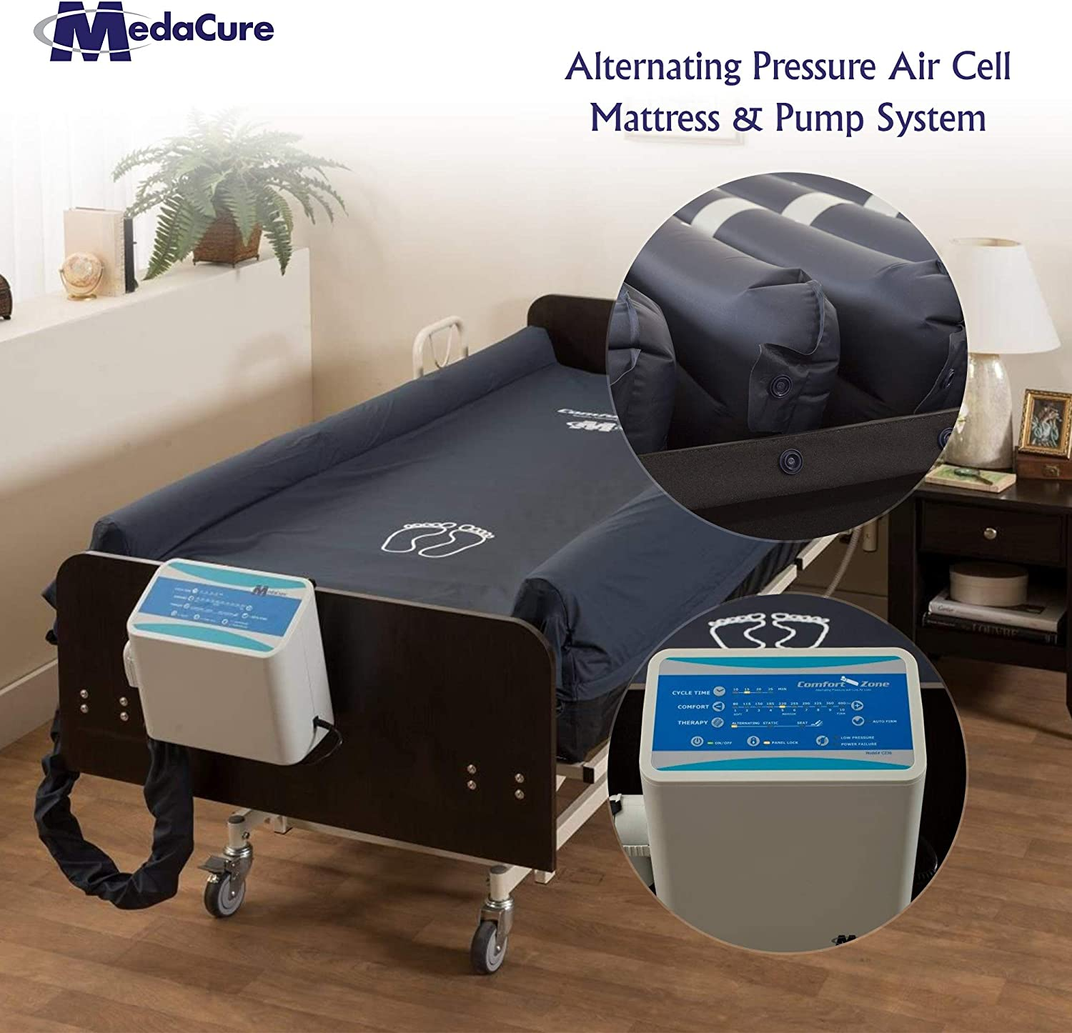 Alternating Pressure Mattress for Hospital Beds with Pump and Built in Guard Rails