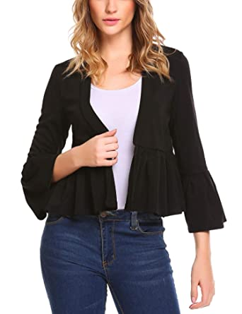 be340df4d1 Zeagoo Women Casual 3 4 Flare Sleeve Open Front Solid Ruffle Crop Cardigan  Coat  Amazon.co.uk  Clothing