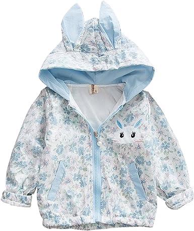 UK Kids Girls Rabbit Ear Hooded Coat Long Jacket Outwear Windbreaker Outfits