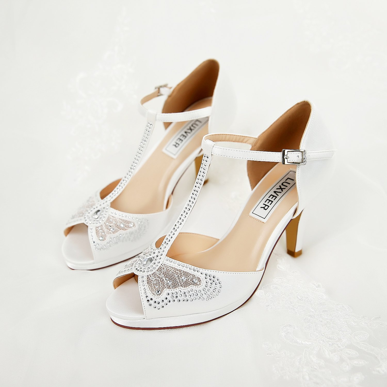 LUXVEER Wedding Sandals Heels for Women ,Silver Rhinestone and Lace Butterfly - Heels 3.5 inch-HK-0192C-Ivory-EU40 Wedding Shoes by LUXVEER (Image #7)