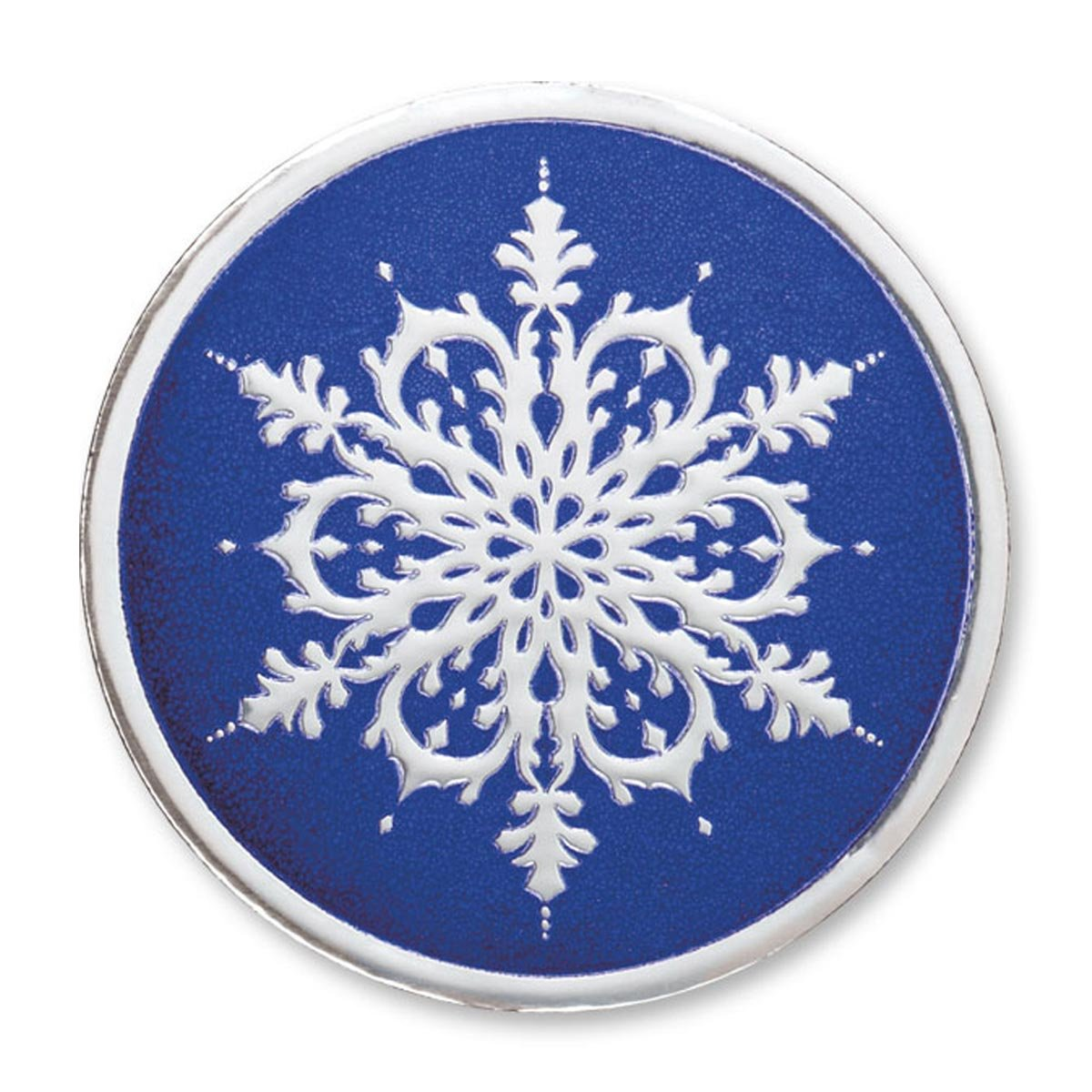 Embossed Elegant Holiday Snowflake Round Silver/Blue Foil Seals, 1 ¼ Inches, Self Adhesive, 48 Count