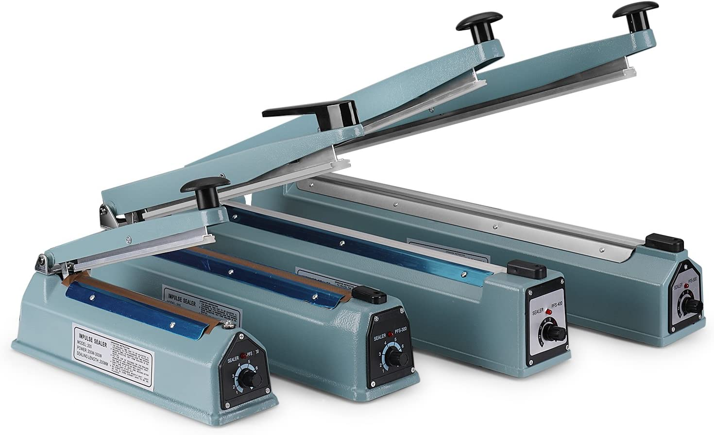 """Flexzion 8\"""" (200mm) Impulse Sealer 300w- Manual Plastic Poly Bag Heat Sealing Machine Closer Kit w/Adjustable Timer, Portable with Free Replacement Element Grip and Teflon Tape 71Uu-gFnZwL"""