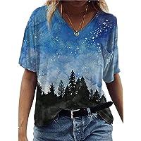 Camiseta feminina gola V plus size colorida retrô estampada de verão casual básica camiseta de manga curta blusa solta