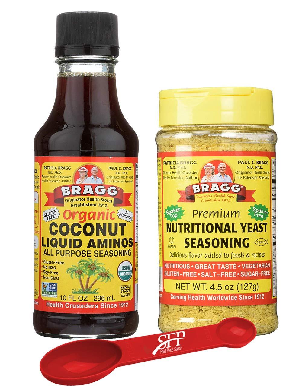 Bragg's Organic Saver Package: Bragg Organic Coconut Liquid Aminos, 10 Oz + Bragg's Nutrional Yeast Supplement, 4.5 Oz by Bragg's Organic (Image #1)