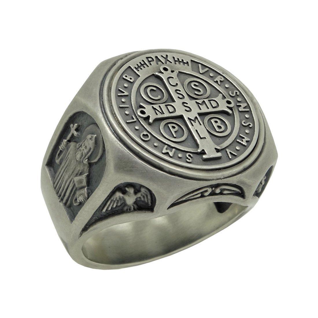 Saint Benedict Sterling Silver 925 Christian Roman Catholic Exorcism Mens Ring , Demon Protection