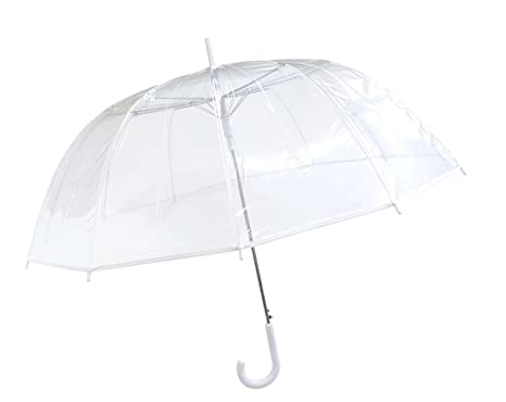 SMATI Paraguas largo transparente 12 varillas automático Antiviento Bodas (Transparente Blanco)