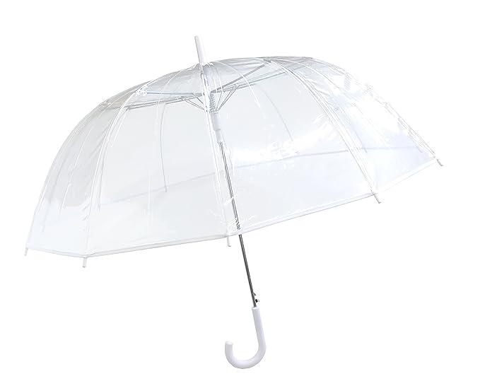 SMATI Damen Regenschirme Transparent/Durchsichtig Glockenschirm mit 12 Speichen Fiberglas/Satin BEZUG/windundurchlässige - Gr