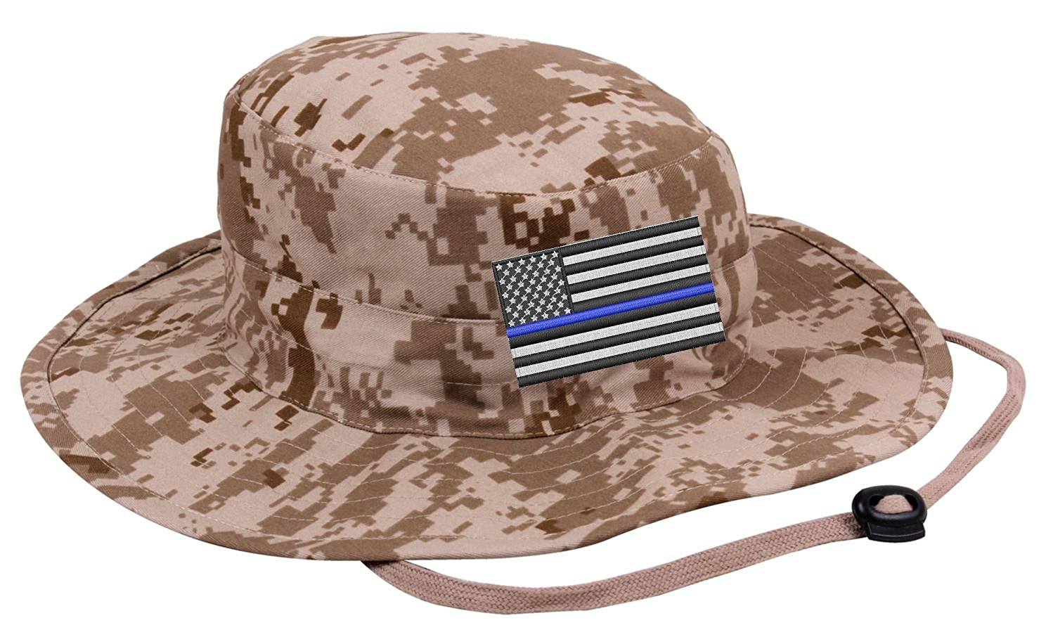 Thin Blue Line Subdued American Flag Police Boonie Hat (Black) at Amazon  Men s Clothing store  2e900c12a946