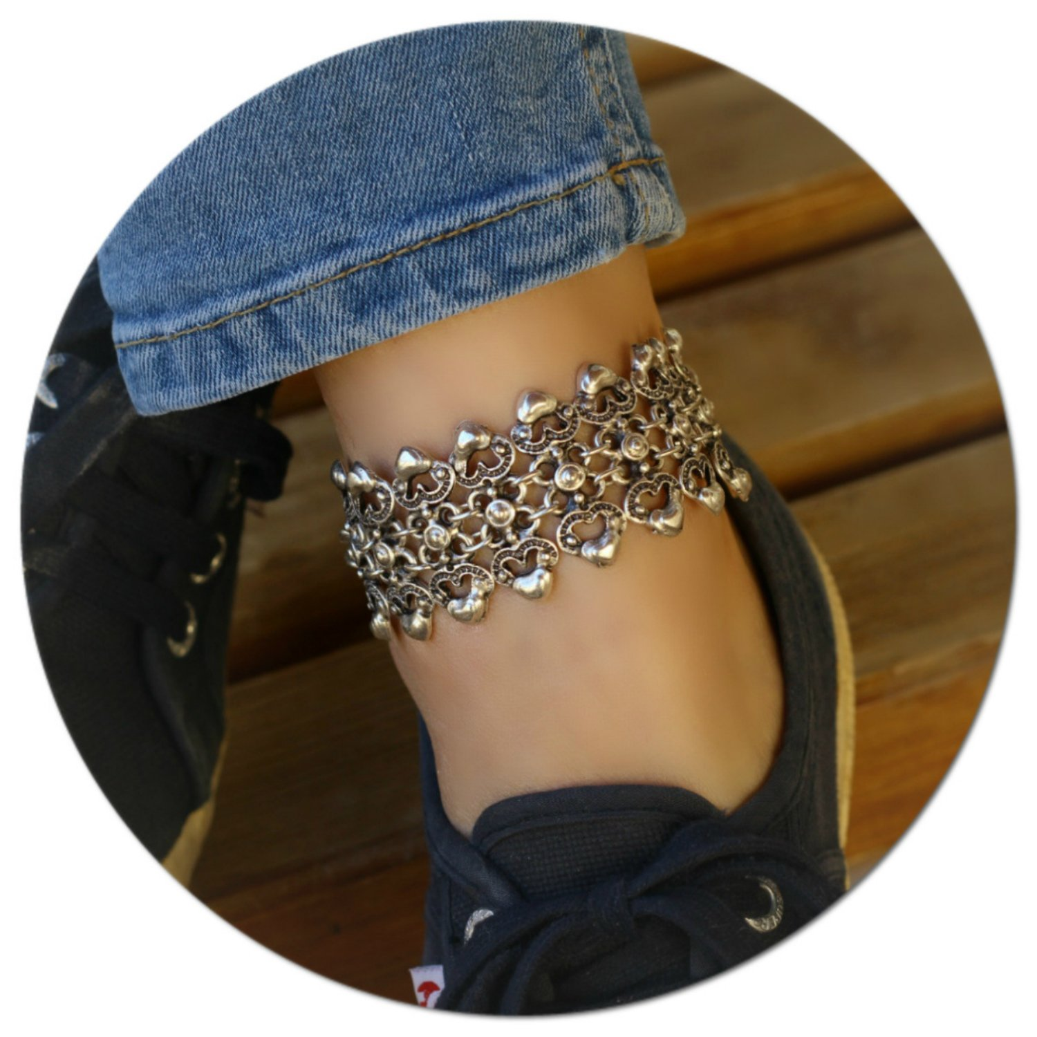 Silver Plated Boho Anklet Beach Summer Ankle Bracelet Foot Chain Jewelry Adjustable Barefoot Sandal