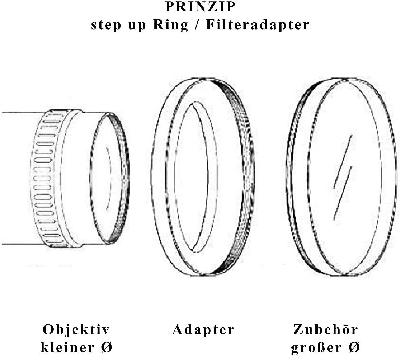 Anillo adaptador de filtro de metal para objetivo de c/ámara con rosca de filtro de 40,5 mm a 55 mm Lumos