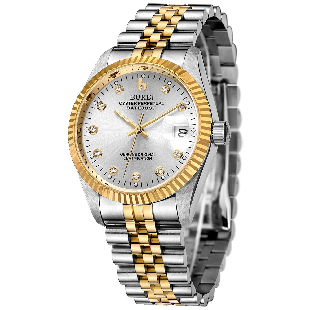 BUREI Mens Formal Self winding Watches with Elegant Face Datejust Sapphire Crystal Metal Band