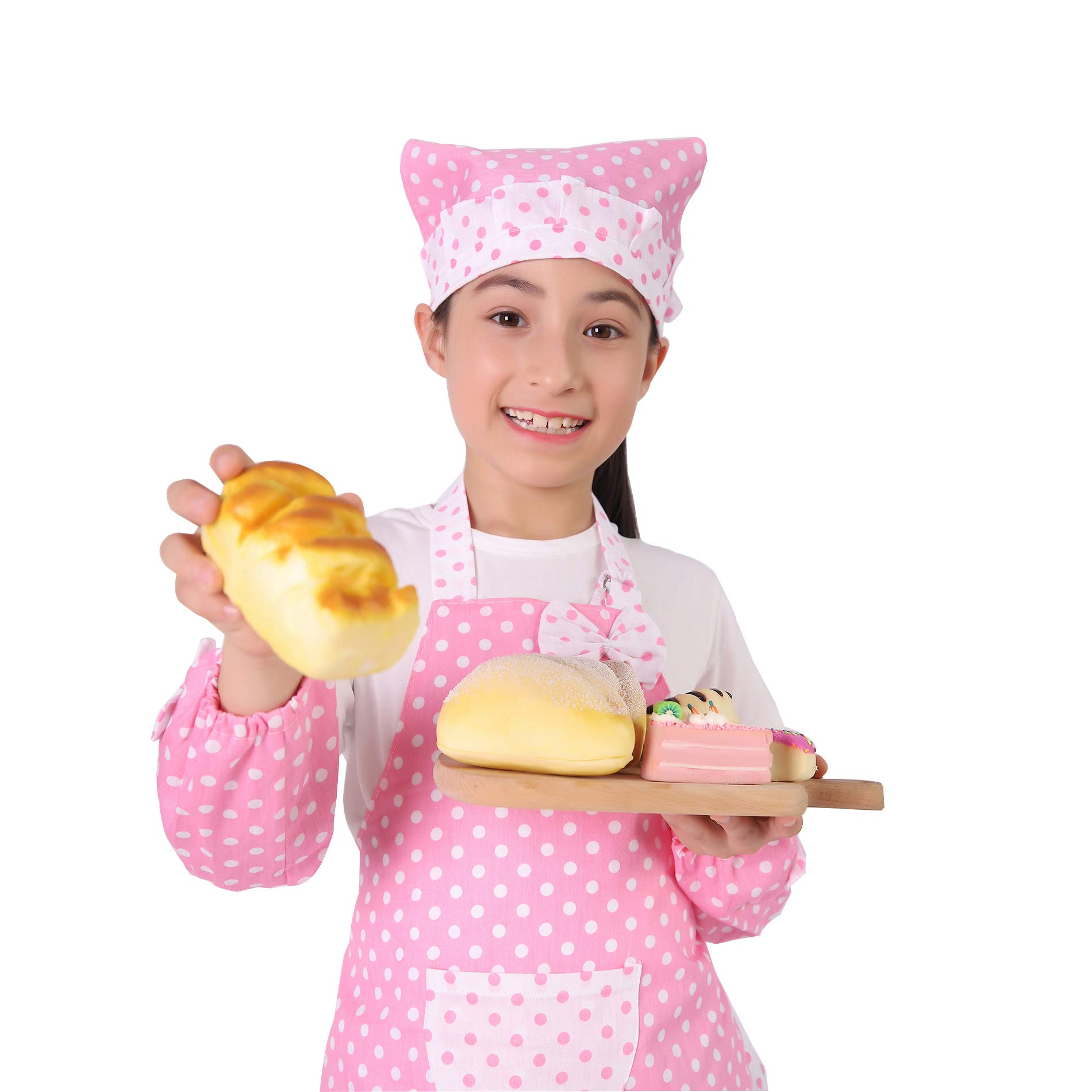Kids Cooking and Baking Set - 3 Piece Kids\' Cooking Kits Includes Apron, Sleevelet, Headkerchief For 2 to 6 Year Old Girls or Boys (Pink)