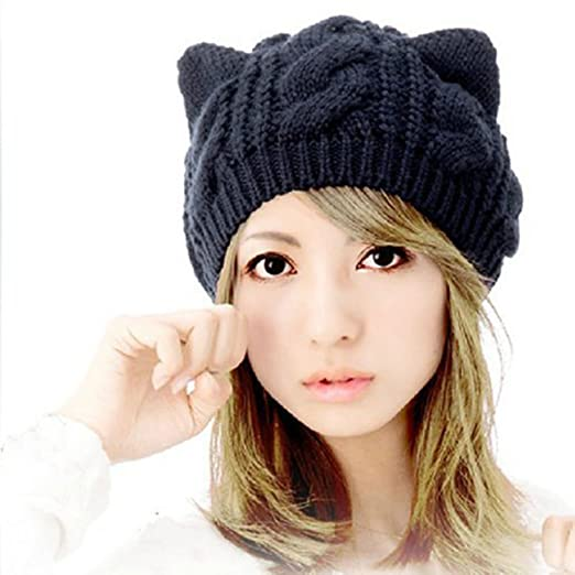 Dealzip Inc® Black Slouchy Chunky Soft Stretch Cute Cat Ear Design Winter  Warm Cable Knit Women Beanie Cap Hat at Amazon Women s Clothing store  239c7b41f09
