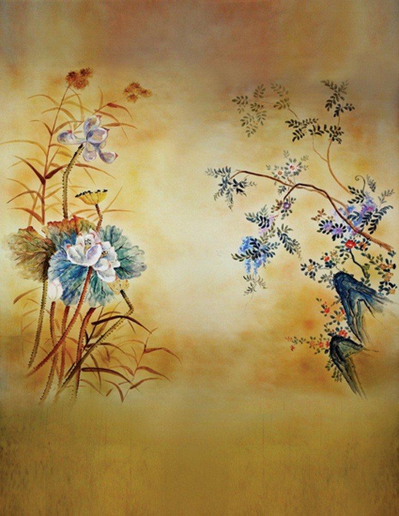A Monamour Mottledブラウン写真背景花景色絵画壁壁画ビニール布部屋デコレーション   B01J86GR2Q