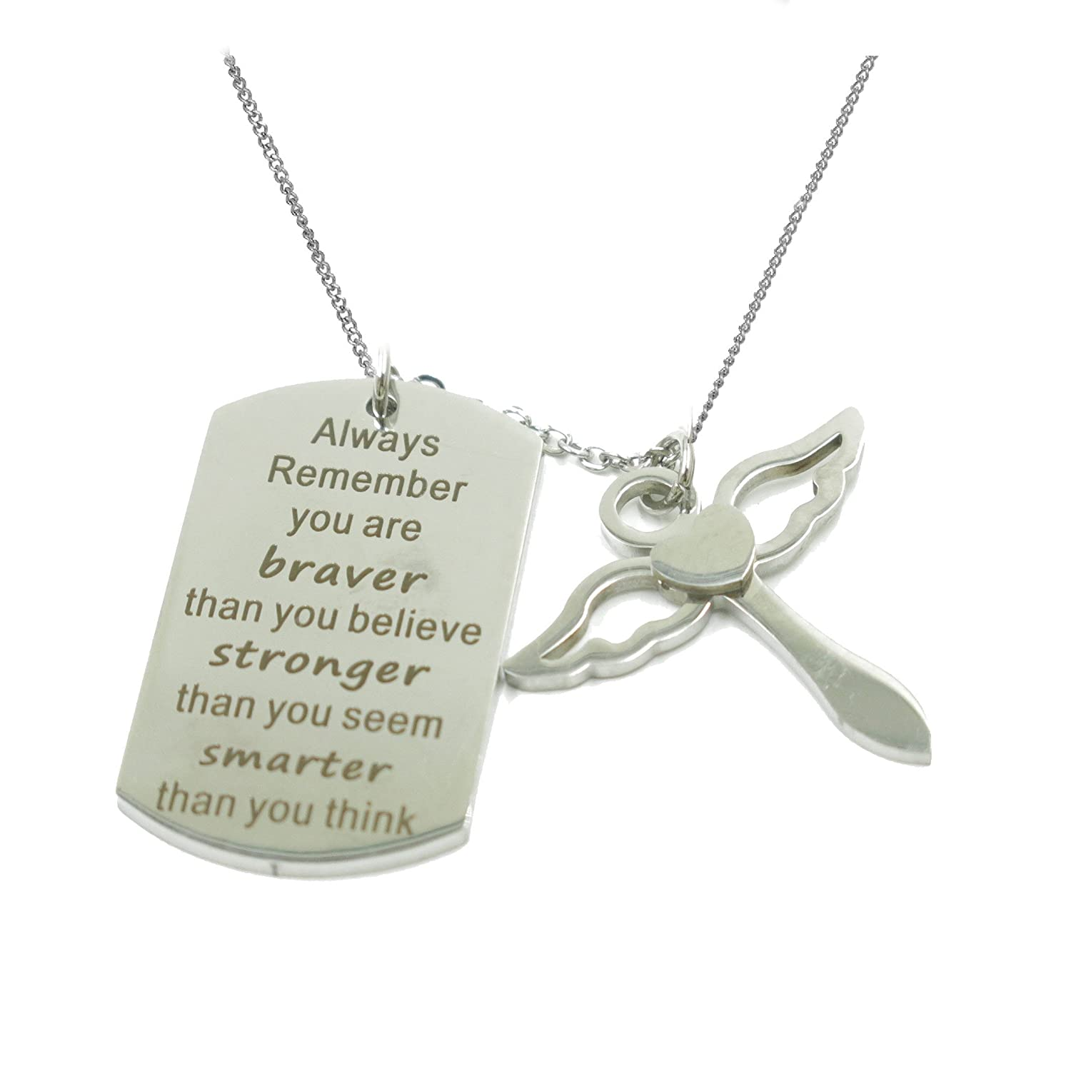 Fashion Always Remember You are Braver Than You Believe Dog Tag Cross Pendant Necklace WYBAM_SP WYFYSP093