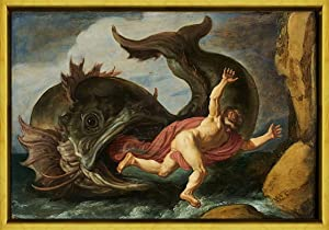 Berkin Arts Pieter Lastman Framed Giclee Print On Canvas-Famous Paintings Fine Art Poster-Reproduction Wall Decor(Jonah and The Whale)#XLK