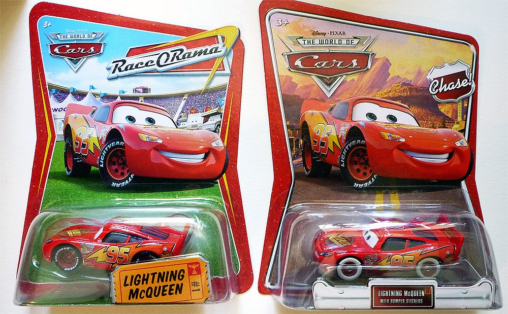 DISNEY PIXAR THE WORLD OF CARS LIGHTNING MCQUEEN WITH BUMPER STICKERS CHASE