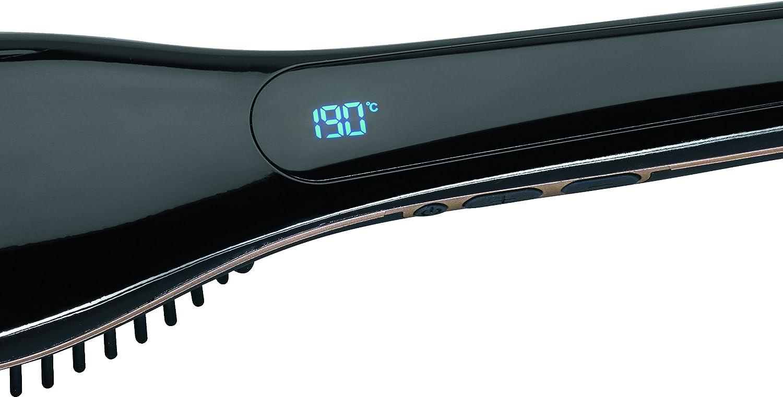 AEG GB 5687 - Cepillo alisador de pelo, eléctrico, con recubrimiento cerámico de turmalina, pantalla LED, tecnología iónica