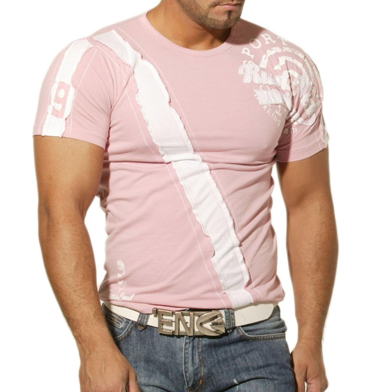 Rusty Neal Herren T-Shirt Poloshirt Polo Hemd Japan Style Kurzarm Rosa RN-438