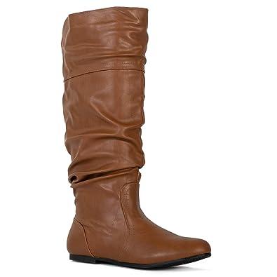 a881ab08e85d RF ROOM OF FASHION Medium Calf Slouchy Knee High Boot Medium Calf (Tan PU  Size