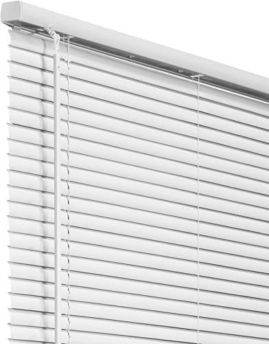 CHICOLOGY Cordless 1-Inch Vinyl Mini Blinds, Horizontal Venetian Slat Light Filtering, Darkening Perfect for Kitchen Bedroom Living Room Office and More, 70 W X 48 H, White Commercial Grade