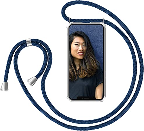 Zhinkarts Handykette Kompatibel Mit Apple Iphone X Iphone Xs 5 8 Display Smartphone Necklace Hülle Mit Band Handyhülle Case Mit Kette Zum Umhängen In Blau Elektronik