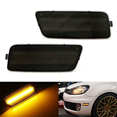iJDMTOY Smoked Lens Amber Full LED Bumper Side Marker Light Kit Compatible With 2009-2014 Volkswagen MK6 Golf/GTI, Powered by 40-SMD LED, Replace OEM Front Sidemarker Lamps: Automotive