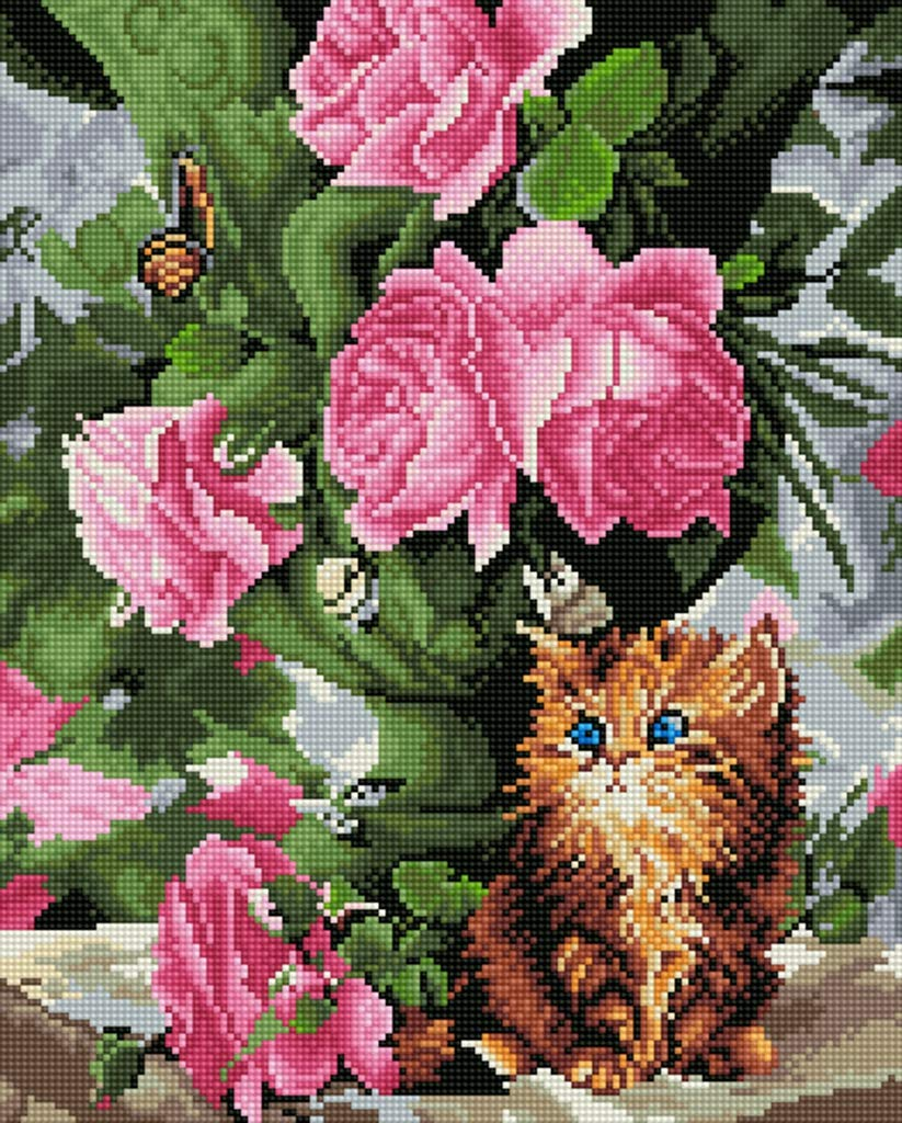 18X21 Cat and Flowers TINMI ARTS 5D Diamond Painting Full Round Kits for Adults DIY Mosaic Cross Stitch Pattern Handmade Embroidery Kits Wall D/écor