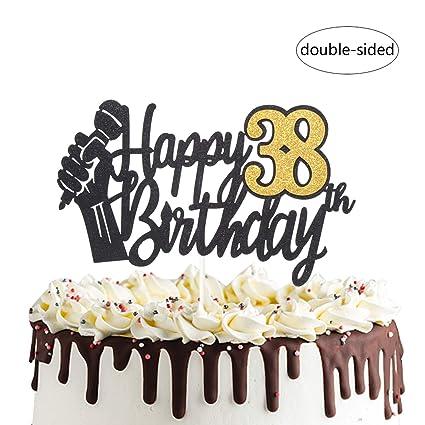 Amazon.com: Decoración para tarta de cumpleaños número 38 ...