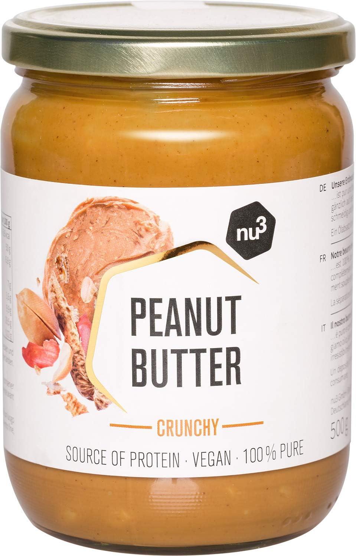 nu3 Mantequilla de cacahuete crujiente - Peanut butter crunchy vegetariana sin azúcar - 500 g de crema de cacahuete pura - 100% maní fresco sin sal o ...