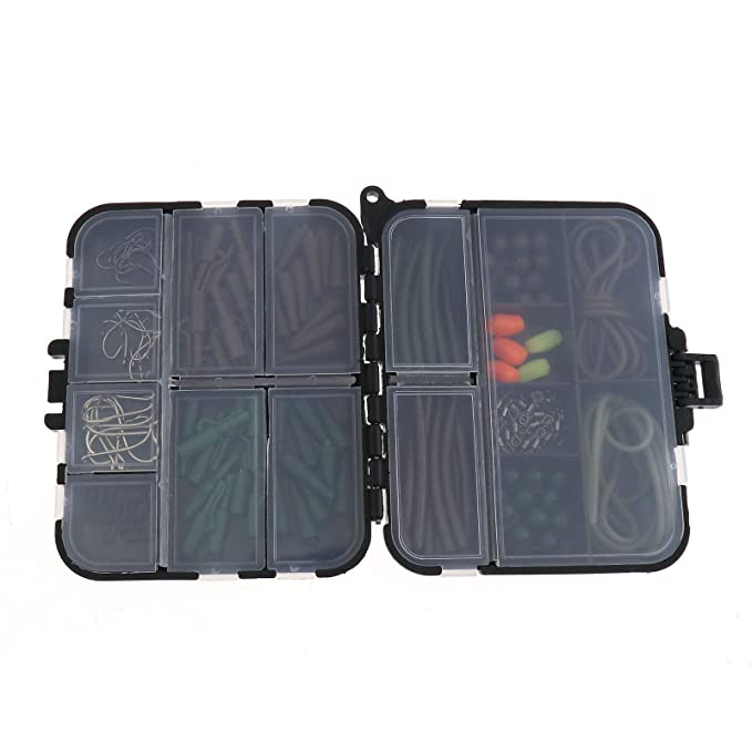 Karpfenangeln Tackle Box Angelkoffer mit Zubeh/ör Blei Clips Perlen Haken Rohre K/öder Karpfen Box