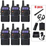 "BaoFeng 6 Pack BF-UV5R 1.5"" LCD 5W 136~174MHz / 400~470MHz Dual Band Walkie Talkie with 1-LED Flashlight Includes…"