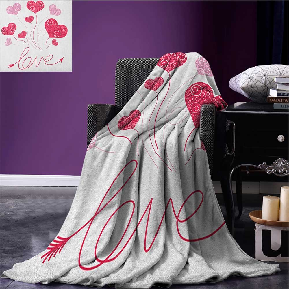 Love throw blanket Valentines Heart Shaped Balloons Party Entertainment Happiness Theme Retro miracle blanket Magenta Rose White size:60''x80''