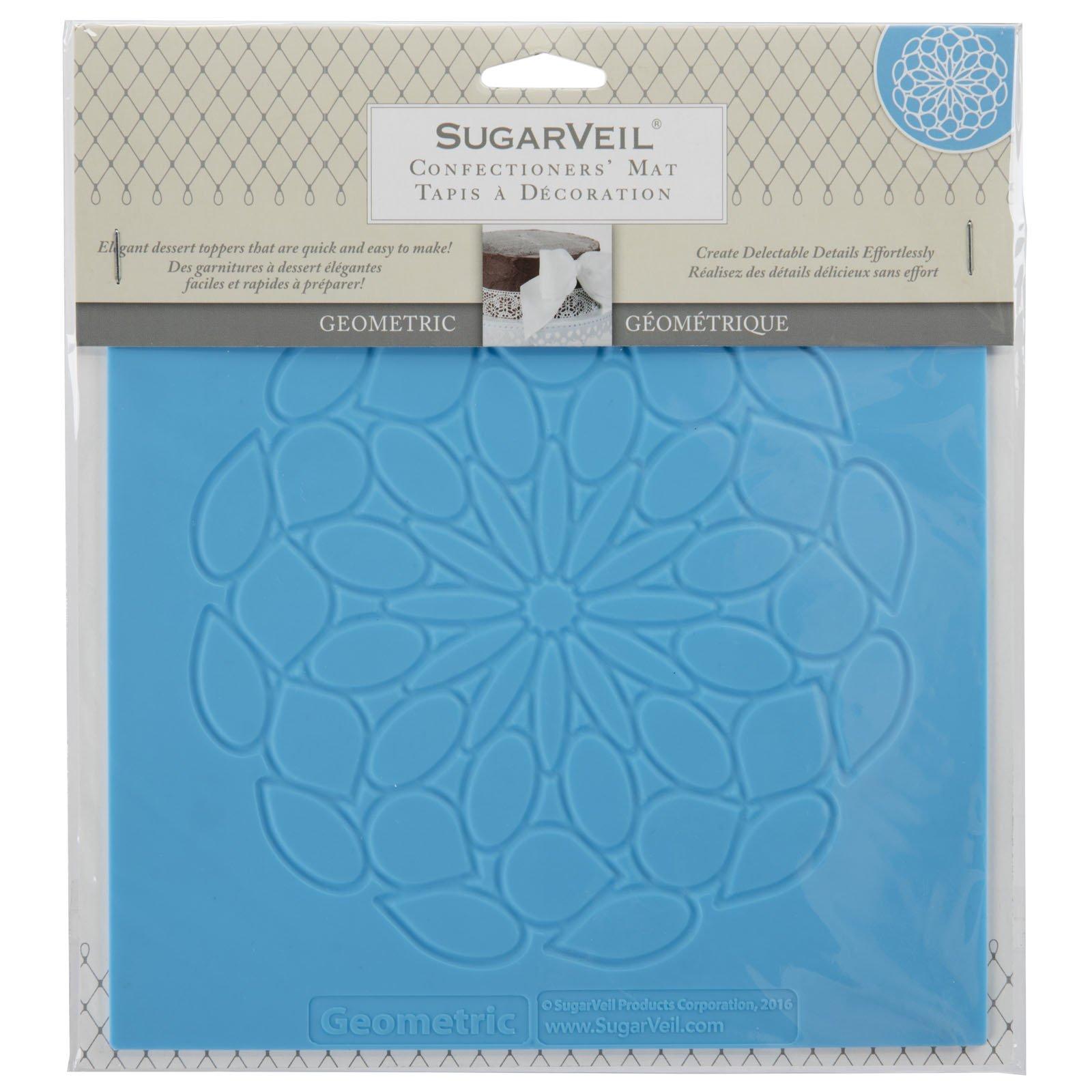 SugarVeil Silicone Geometric Cake Topper Mat, Blue