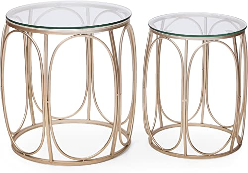 ELEGAN Luxury Classic Metal Accent Nesting Night Side End Table Set of 2 Golden Simple