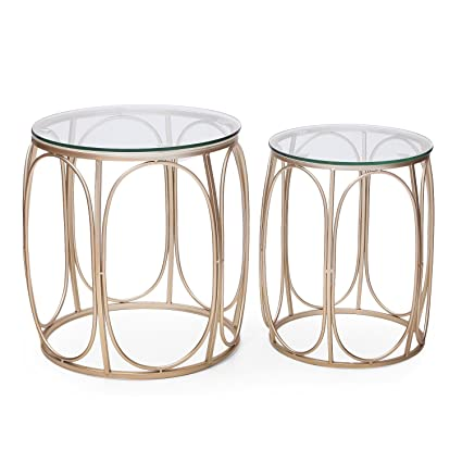Set of 2 Golden ELEGAN Luxury Classic Metal Accent Nesting Side End Table