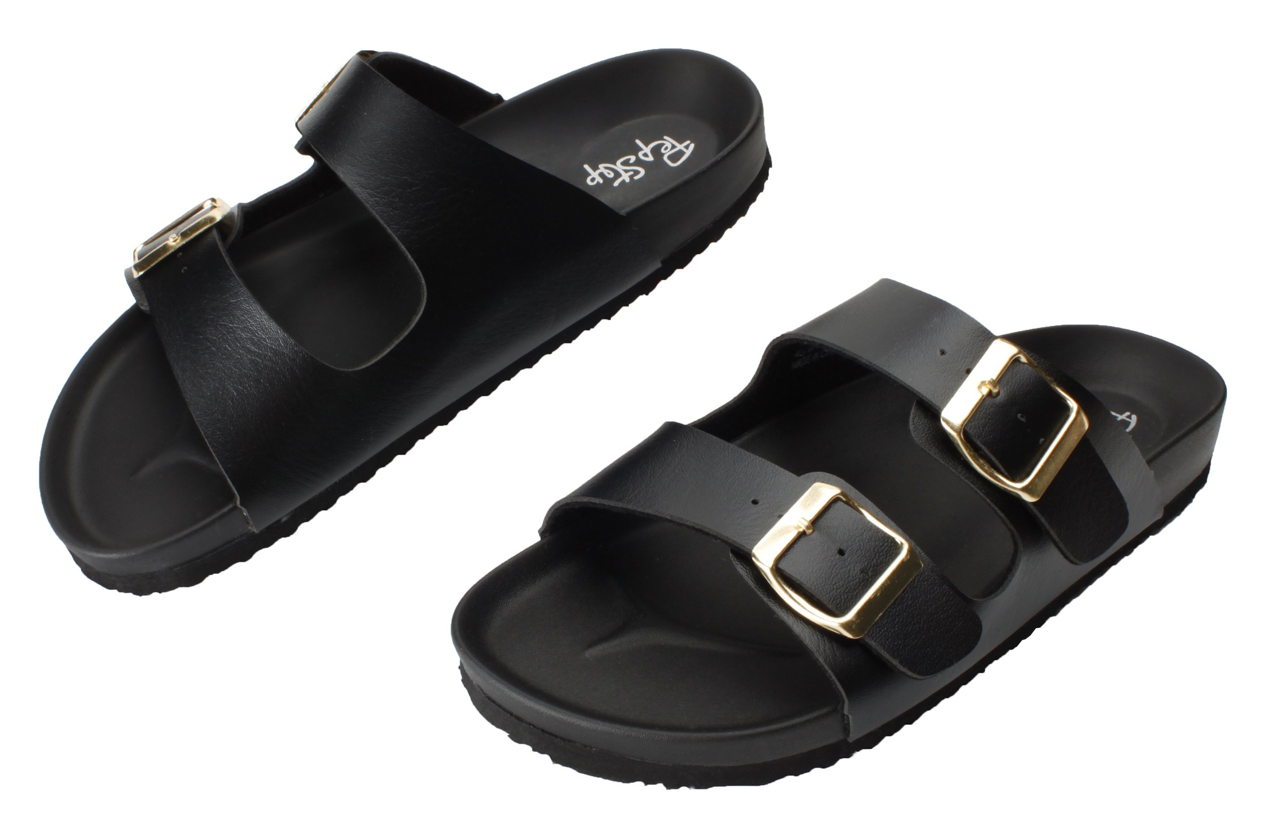 Pepstep Cork Sandals for Women Beach Footbed Thong Sandals Buckle Sandal for Women (9, Black)