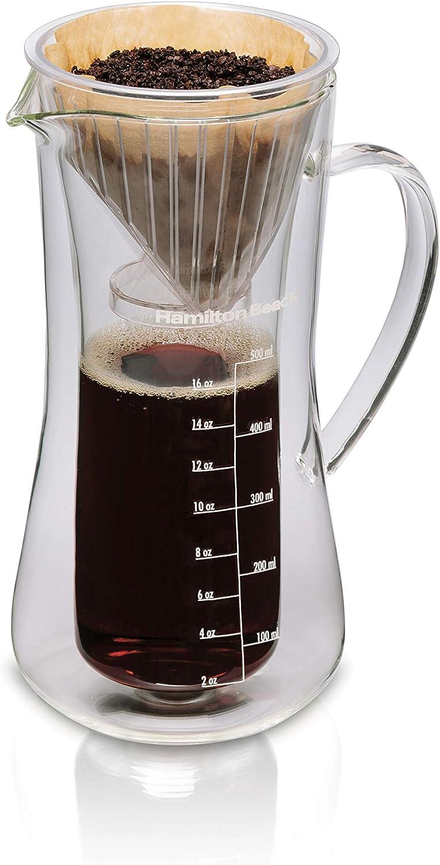 Hamilton Beach Pour Over Drip Coffee Maker, 17 Ounces, Glass Carafe (40406)