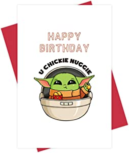 Cute Baby Yoda Chicken Nugget Birthday Card, Hilarious Food Pun Bday Greeting Card for Him Her