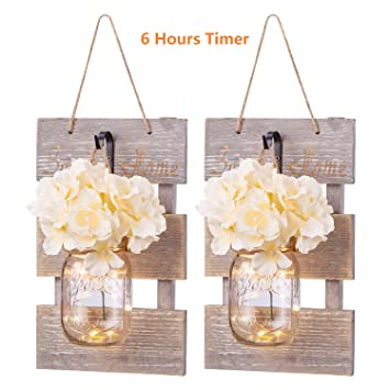 Mason Jar Sconces Wall Decor Lights For Living Room Bedroom Silk Hydrangea Flowers And Decorative Hooks Farmhouse Kitchen Home Decoration Set Of 2