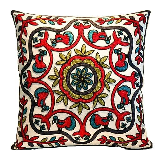 Zuodu - Funda para cojín, hecha a mano, con bordado bohemio