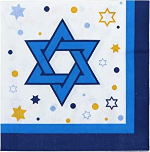 Iconikal Disposable Dinner Paper Party Napkins, Hanukkah Stars, 72-Count
