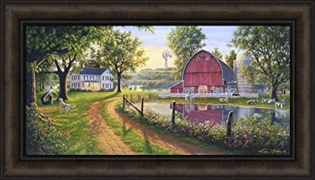 The Road Home by Kim Norlien 16×28 Farm House Red Barn Windmill Silo Cows Pond Dog Country Framed Art Print Picture
