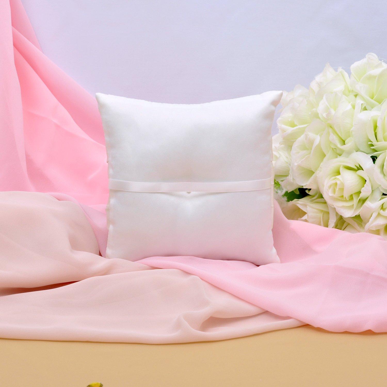 Amazon.com: Ivory Satin Bow Ring Bearer Pillow