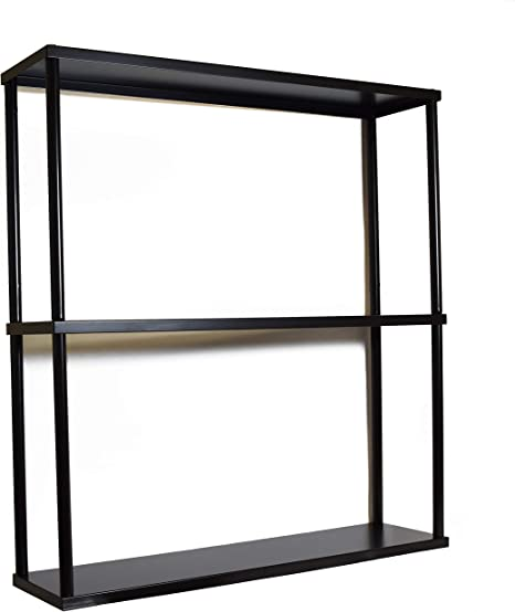 Amazon Com Mango Steam Wall Mounted Steel Shelving Unit 26 H X 24 W X 6 D Black For Kitchen Storage Or Display Use Furniture Decor