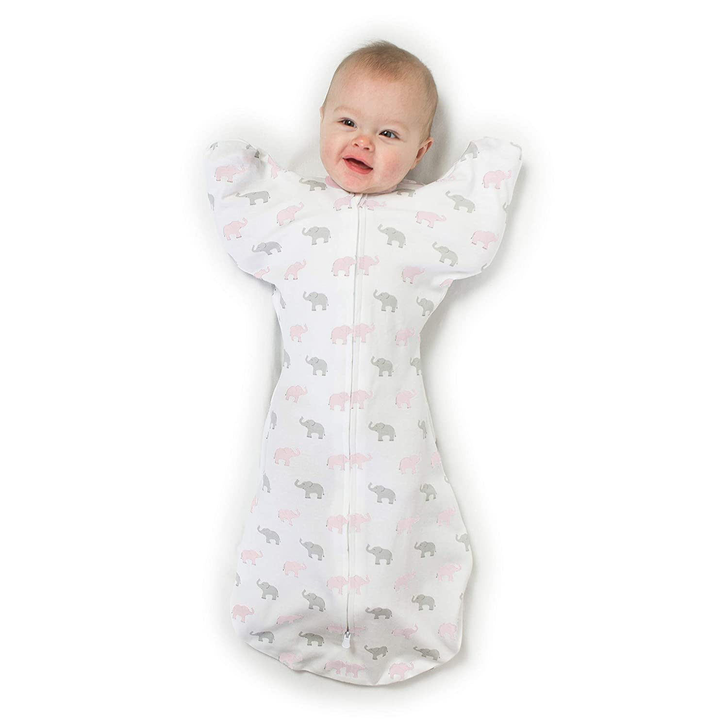 Amazing Baby Transitional Swaddle Sack with Arms Up Half-Length Sleeves and Mitten Cuffs, Tiny Elephants, Pink, Medium, 3-6 Months (Parents' Picks Award Winner, Easy Transition with Better Sleep)