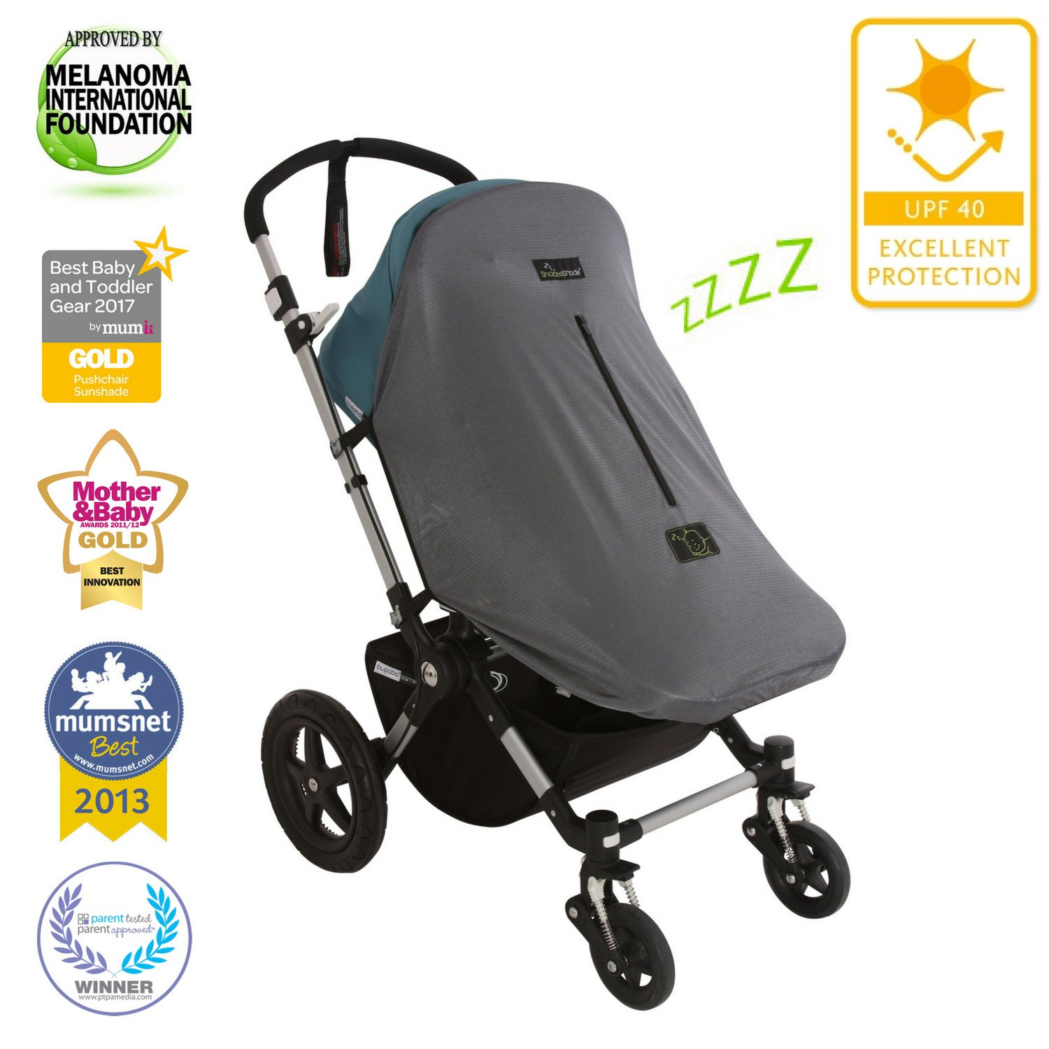SnoozeShade Original Deluxe Stroller Sunshade and Baby Sleep Aid, Blocks Up to 97.5-Percent UV, Grey Really Simple Ideas SS0011