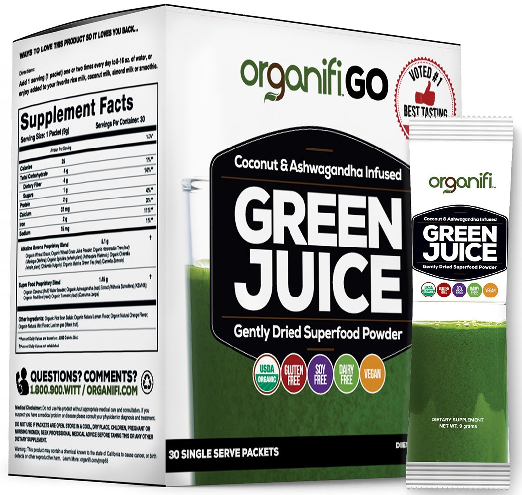 Organifi GO Packs - Green Juice Super Food Supplement 30 Individual Wrapped Portable Travel-Friendly Packs. USDA Organic Vegan Greens Powder by Organifi