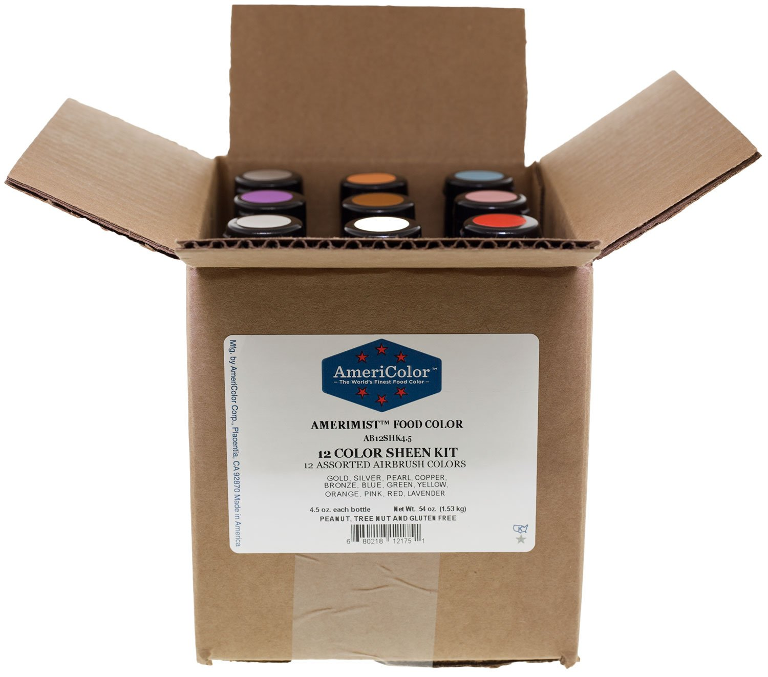 Americolor Sheen Airbrush Color Kit, Twelve 4.5-Oz Colors (Shown in Picture)